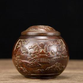 日本回流 铜器  山水罐  8x7cm