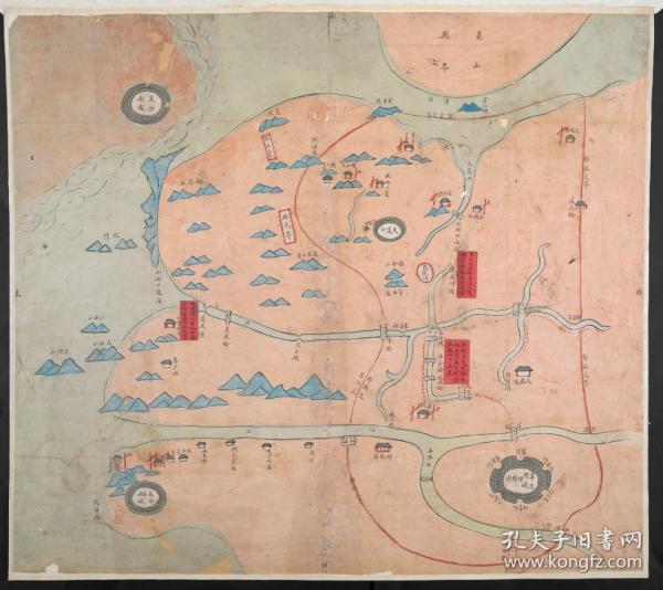 【复印件】《鄞县地舆图》(原图高清复制),(浙江宁波鄞县鄞州老地图),全图传统舆地图绘制方法,上南、下北、左东、右西。全图范围四至,请看图片。请看三江口,请看东吴河头岸起至大嵩所陆路计四十五里。宁波地理地名历史变化史料地图。裱框后,风貌佳。