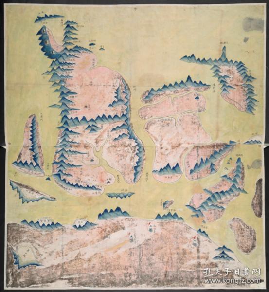 【复印件】《象山县境舆图》(原图高清复制),(浙江宁波象山老地图),全图传统舆地图绘制方法,上南、下北、左东、右西。全图范围四至,请看图片。请看林门港口,请看昌国卫。象山地理地名历史变化史料地图。裱框后风貌佳。