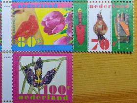 【荷兰1996年春天的花卉 郁金香 番红花等3全+小型张】