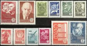 【苏联邮票SLYP1977N年4733第12套普通邮票列宁毛纸12全】