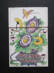 民国瓷砖--手绘花篮