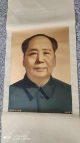 名人字画;天安门毛主席画像999纯金卷轴装裱60厘米*43厘米