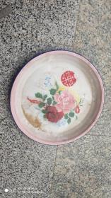 日用品;搪瓷牡丹花直径32厘米杭州搪瓷厂飞机牌加厚搪瓷盘1988年10.2日