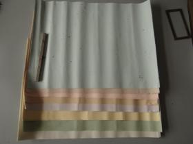 日本书道教授南丰旧藏:70-80年代四八色皮纸金银砂子切箔入25枚!尺寸长50宽37.8cm,有点蜡笺纸感觉!