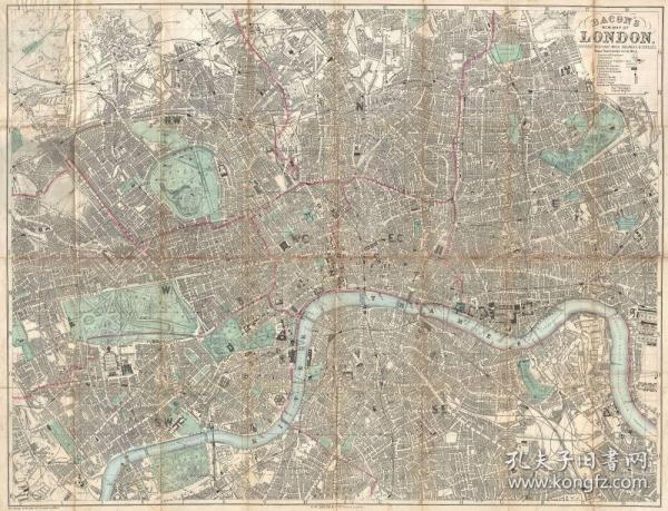 【复印件】伦敦老地图 Map of London(1890年制图)英国老地图 原图高清复印