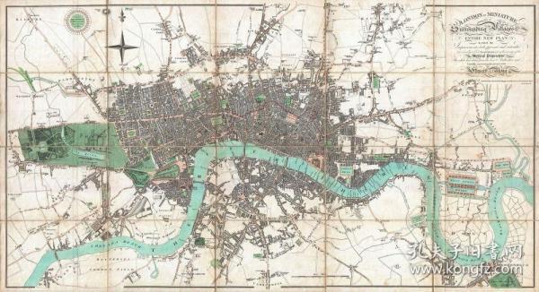 【复印件】伦敦老地图 Map of London(1806年制图)英国老地图 原图高清复印