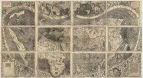 【复印件】瓦尔德泽米勒地图 Waldseemuller map(1507年制图)世界地图 全球老地图 原图高清复印