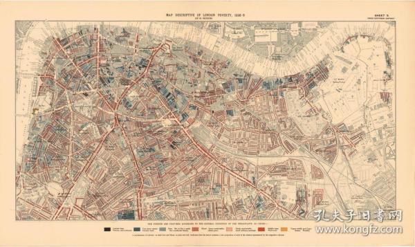 【复印件】伦敦老地图 Map of London(1898-1899年制图)2 英国老地图 原图高清复印