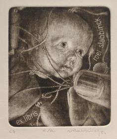 比利时——Roel Slabbinck 藏书票版画原作4精品收藏 1984年 签名