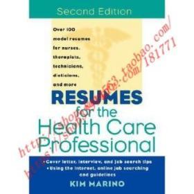 【全新正版】Resumes For The Health Care Professional, Se...