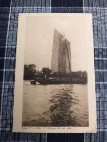 天津老明信片,清末民初,中式帆船