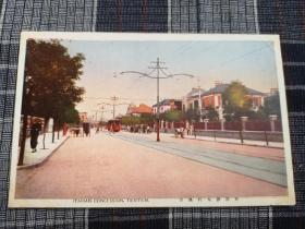 天津老明信片,意大利租界,大马路,今建国道