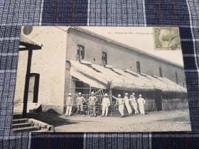天津老明信片,民初法国兵营,东局子食堂