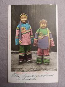 清末老明信片,美国旧金山唐人街华人女孩