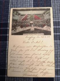 天津老明信片,德国军人在天津过圣诞节,八国联军,1903年实寄
