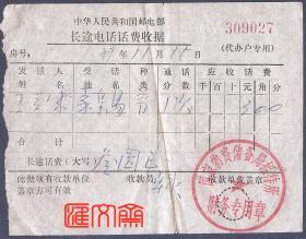 """1989年11月北京-秦皇岛,邮电部长途电话话费收据,盖""""国家物资储备局招待所财务专用章"""""""