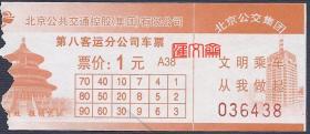 北京公交控股公司第八客运分公司车票1元-争做文明公民,维护交通秩序,橙色、天坛图,票面如图