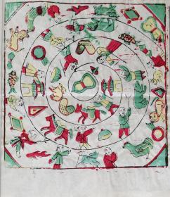 稀见古代人的游戏娱乐工具!!!木刻木版年画版画*游戏图*
