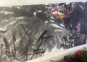 中国国家画院书法篆刻所所长魏广君丈二巨幅《荷塘美景》一幅(保真)