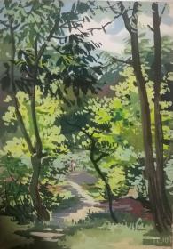 山西著名女画家杜晓云水粉作品一幅(024保真)