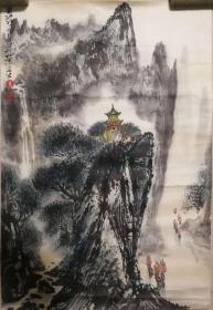 当代著名画家朱安生山水托片一幅(保真)