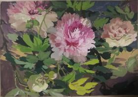 山西著名女画家杜晓云水粉作品一幅(021保真)
