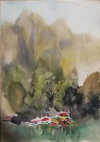 山西著名女画家杜晓云水粉作品一幅(008保真)