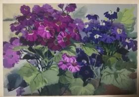 山西著名女画家杜晓云水粉作品一幅(012保真)