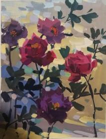 山西著名女画家杜晓云水粉作品一幅(016保真)