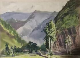 山西著名女画家杜晓云水粉作品一幅(023保真)