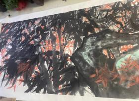 中国国家画院书法篆刻所所长魏广君丈二巨幅《竹石图》一幅(保真)