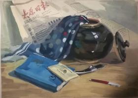山西著名女画家杜晓云水粉作品一幅(006保真)