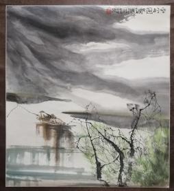 现代国画大家李桂泱原裱山水画一幅(保真)