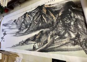 中国国家画院书法篆刻所所长魏广君等合作丈二巨幅山水《蒙大岭图》一幅(保真)