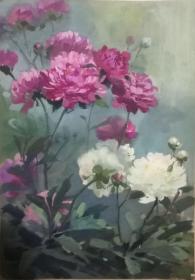 山西著名女画家杜晓云水粉作品一幅(015保真)