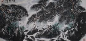 著名书画家、内蒙古包头市黄河画院名誉院长 卢武澄 大幅国画作品《松鹤长青》一幅(纸本镜心,画芯尺寸:68*139cm,约8.5平尺) HXTX384247