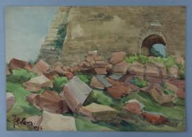 著名水彩画家、原上海美协理事、上海文史馆馆员 张眉孙 1955年作 《古城门》水彩一幅(尺寸:20*28.5cm)HXTX329999