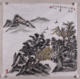 开国少将、88年上将 刘振华 2018年作 国画作品《水乡人家》一幅(纸本软片,画心约4.2平尺,钤印:刘振华)HXTX330991