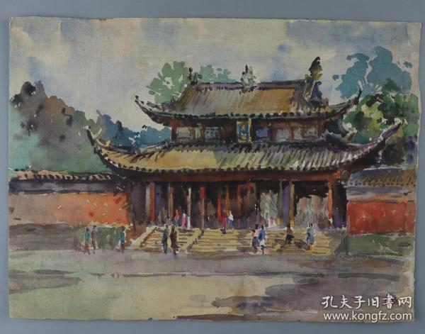 水彩画家、曾任复旦大学副校长 吴志强 作 《文庙》水粉一幅(尺寸:25*34cm)HXTX330000