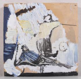 某美术机构旧藏:佚名 《摔倒》油画一幅带框(尺寸:30*30cm)HXTX244900