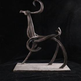 """著名艺术家、""""福娃之父""""韩美林 雕塑作品《鹿》(重量:4.9KG)HXTX384691"""