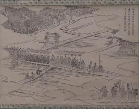 日本回流:清末民国 大幅人物 古版画作品一幅(纸本立轴,画芯尺寸:37*50cm) HXTX384509