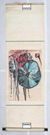 长安画派代表性画家、西安中国画院副院长 江文湛 癸亥年(1983) 画作《新荷》一幅 (纸本立轴,画心约2.7平尺,钤印:江、文湛之印)TX330242