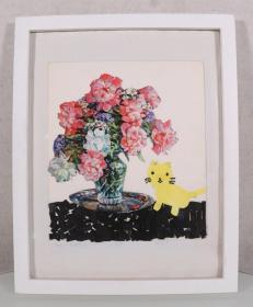 某美术机构旧藏:画家 詹思 2017年作 《花瓶与猫》拼贴画 一幅带框(尺寸:24*21cm)HXTX244904