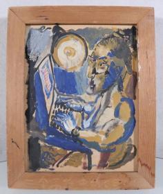 某美术机构旧藏:佚名 《打电脑》油画一幅带框(尺寸:20*15.5cm)HXTX244901