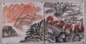开国少将、88年上将 刘振华 2019年作 国画作品《江山多娇图》2幅一组(纸本软片,画心约4.2平尺*2,钤印:刘振华)HXTX330990