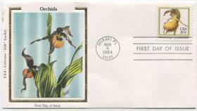 美国邮票 1984年 兰花 丝绸首日封FDC-I-15