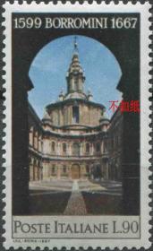 意大利邮票 1967年 建筑师博罗米尼逝世300周年 罗马圣伊沃教堂 1全新EUR14