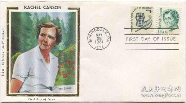 美国邮票 1981年 海洋生物学家雷切尔·卡森 1全丝绸首日封FDC-I-15